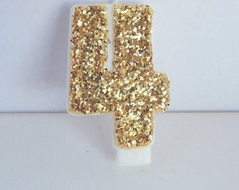 Gold 4th Birthday Candle, Gold Glitter Front, Birthday Candle-Birthday Party Decoration-Fourth Birthday Candle