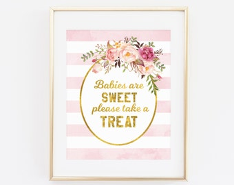 Printable Baby Shower Sign, Babies Are Sweet Please Take A Treat, Party Favor Sign, Pink Gold, Baby Shower Decorations, Baby Shower Girl