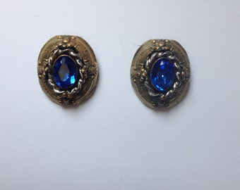 Vintage Brass Shoe Clips with Blue Rhinestones