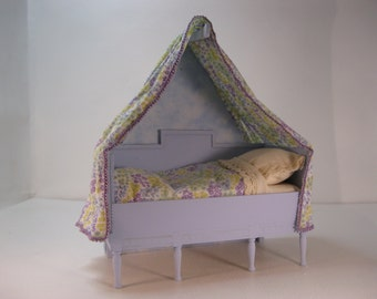 Dolls house 1/12th scale Scandinavian canopied bed