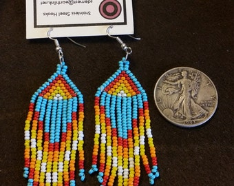 "Handmade Native American Beaded Earrings with Stainless Steel Hooks. 1"" x 3 1/2"". Made in USA. Size 11 Preciosa glass beads."