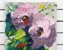 Pale Rose Hydrangea Painting, Flower Painting on Canvas, Hydrangea Decor, Small Art, Feminine Bedroom Wall Art, Kitchen and Dining Decor