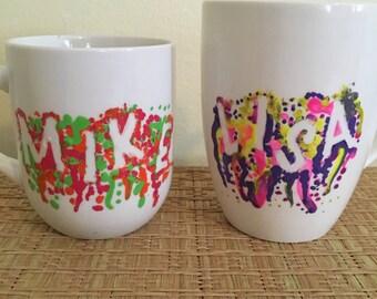 Custom Paint Drip Name Mugs