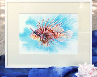 Aquarium Red Lionfish, Fish Print, Fish Art, Gift, Fish Paintings, Watercolor Fish, Lionfish Painting, Watercolor Art Print, Nursery Decor