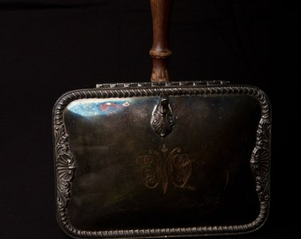 Antique Bed Warmer Pan with Silver Inlay