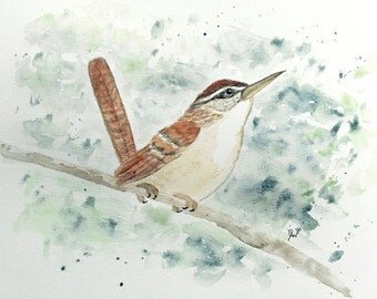"Watercolor Bird Print - Carolina Wren - 5"" x 7"""