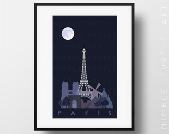 Paris Skyline Night  -  Paris Lights  -  Eiffel Tower Lights  -  Printable Digital Download