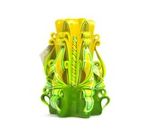 Bright yellow lime carved candles colorful design home decor unique gift spring