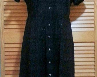 Vintage 1940s black cotton eyelet lace dress