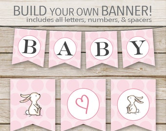 Pink Bunny Baby Shower Banner - Printable Download - Pink Girl Customizable DIY Banner Printable with ALL Letters and Numbers
