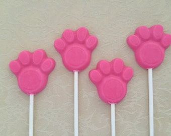 PAW PRINT CHOCOLATE Lollipops(12 qty)-Birthday Party Favors-Dog Rescue-Puppy Party-Animal Shelter Fundraiser - Animal Charity - Doggie Party