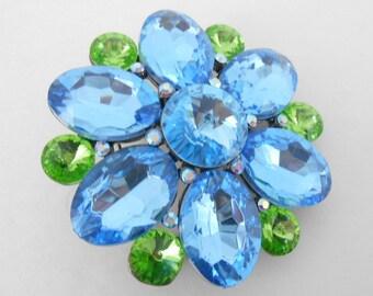 Rhinestone Brooch Large Blue and Green Stones Vintage