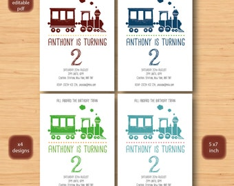 steam train birthday invitation-x 4 SELF EDITABLE PDF -5 x 7inch Customisable Printable Birthday Party Invite - Instant Download
