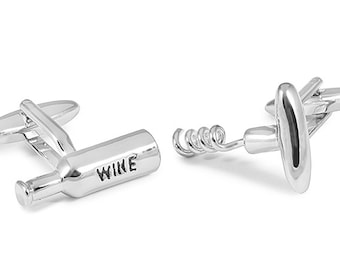 Cufflinks a Bottle of Wine and Corkscrew
