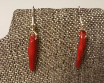 PRICE REDUCED for this Women's Red Coral Drop Earrings