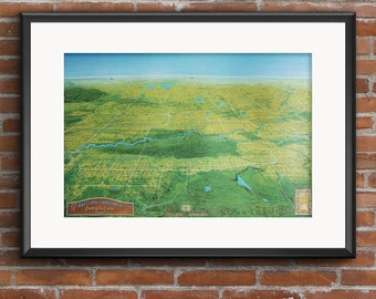 Map of East Central Saskatchewan, Canada - Fort a la Corne. Color print, signed by artist. Father's Day, Dad's Birthday, Anniversary Gift