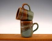 Coffee Mugs -- Stoneware Mugs -- 6 oz Coffee Cups (set of 2)