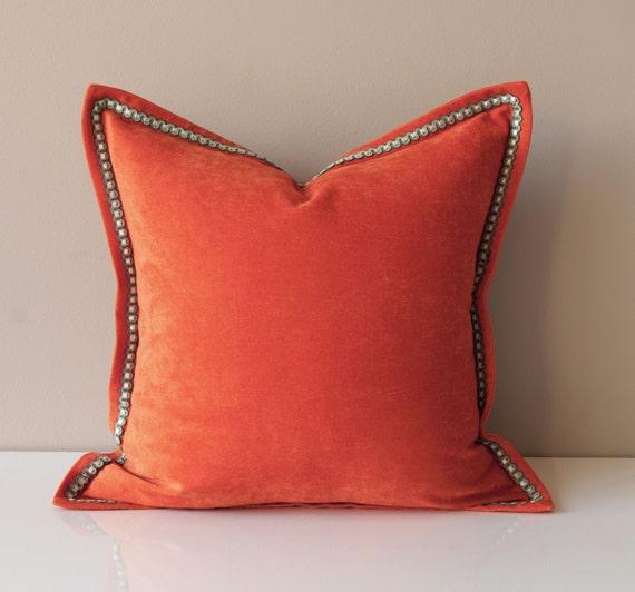 Orange Velvet Throw Pillow Cover Orange Pillow Cover