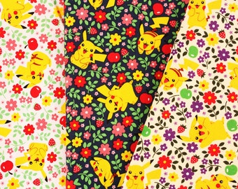 Pocket Monster, Pokemon, Pikachu Character Fabric made in Korea By The Yard