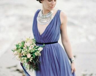 Blue silk tulle dress