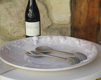 French artisan large round platter – autumn harvest