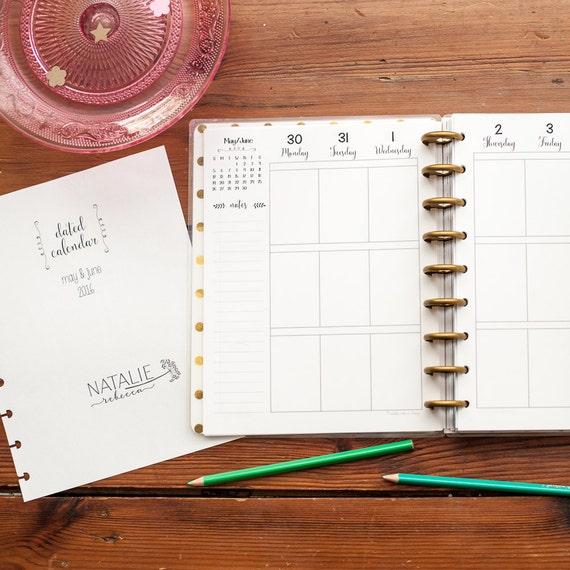 Happy Planner Calendar Refills : Calendar happy planner printed inserts by natalierebeccaprints
