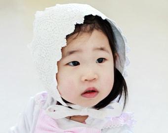 Baby bonnet b15, lace bonnet,toddler bonnet baptism bonnet linen baby hat,linen bonnet, 3-6 mo, 6-12 mo, 12-24 mo 24-48 mo sizes