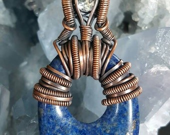 Oxidized Copper Wire Wrapped Lapis Lazuli and White Topaz Pendant Budget Cheap Wearable Practice Piece Pendant