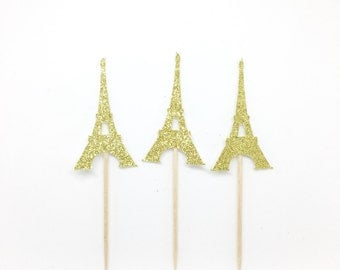 FAST SHIP! Set of 12 glitter Eiffel tower cupcake toppers! Bridal shower, birthday party, Parisian theme party.
