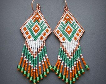 Ethnic earrings Boho earrings bohemian earrings Seed bead earrings Beaded earrings Bead woven earrings Ethnic jewelry Ethnic style earrings