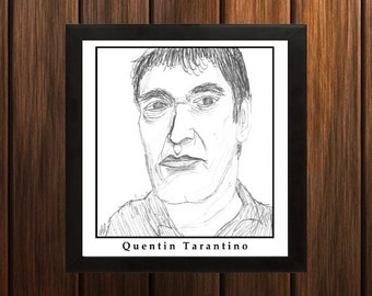 Quentin Tarantino - Sketch Print - 8.5x9 inches - Black and White - Pen - Caricature Poster