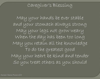 Caregiver's Blessing, Prayer for the Caregiver, Doctor's Blessing