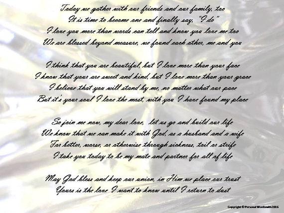 Poems To Read At Wedding: Wedding Poem Digital Download Printable Marriage Vows Custom