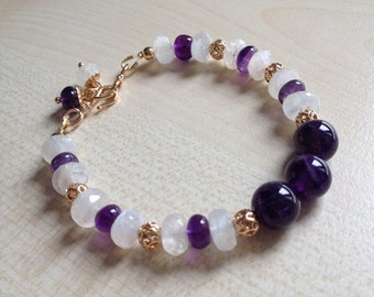 "Very pretty bracelet ""Blueberry""with Moonstone and Amethyst!"