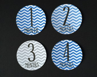 Baby Boy Monthly Stickers, Monthly Baby Stickers, Chevron Baby Boy Stickers