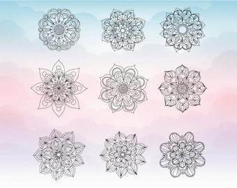 Mandala SVG - Mandala vector clipart - Mandala decal - Mandala monogram digital download - Clipart design for cutting machines - Png Pdf Svg