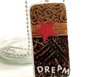 Mixed Media Domino Pendant with Inspirational Message
