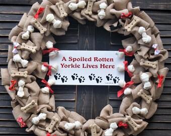 Dog Lovers Burlap Wreath