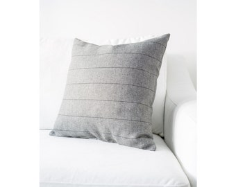 Gray with Black Pinstripe Washable Complete Pillow designed by Jo Alcorn