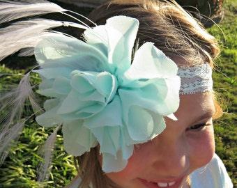 Mint Headband, Lace Headband, Baby Headband, Feather Headband, Flower Headband