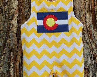 Yellow Chevron Colorado Flag Shortalls