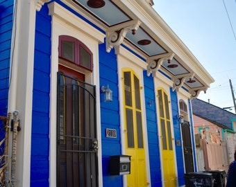 New Orleans Shotgun Home; Photo; Architecture; Colorful House; Blue and Yellow Home; Haint Blue; French Quarter; NOLA; Marigny; Bywater; LA