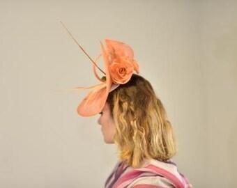 Sinamay orange straw hat PV 16-01