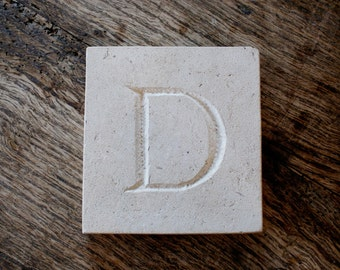 Letter 'D' Hand Carved In Beautiful White Portland Stone Standing Stone Fossil Tablet Everlasting Wedding Christening Gift Personalised Art