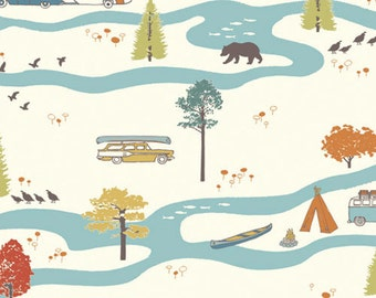Feather River, Birch Organic  Fabrics, Camping Fabric, Cars fabric , Woodland Fabric, Fabric by the yard
