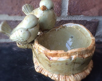 Adorable Ceramic Rustic Bird Trinket Dish/ Bowl