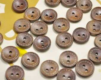 15mm Round Wood Buttons Pack of 50pcs small brown Wooden Buttons.