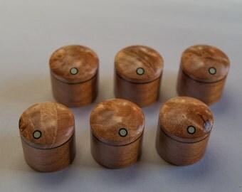 Maple Burl on Alder Set of 6 custom wood guitar knobs
