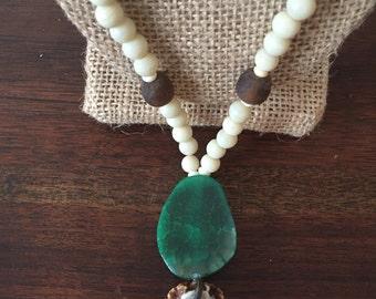 Antler Burr & Agate Necklace