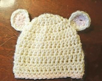 Crochet teddy bear newborn hat